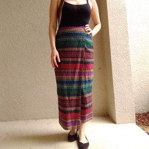 Vintage Huntington Ridge Striped Wrap Skirt